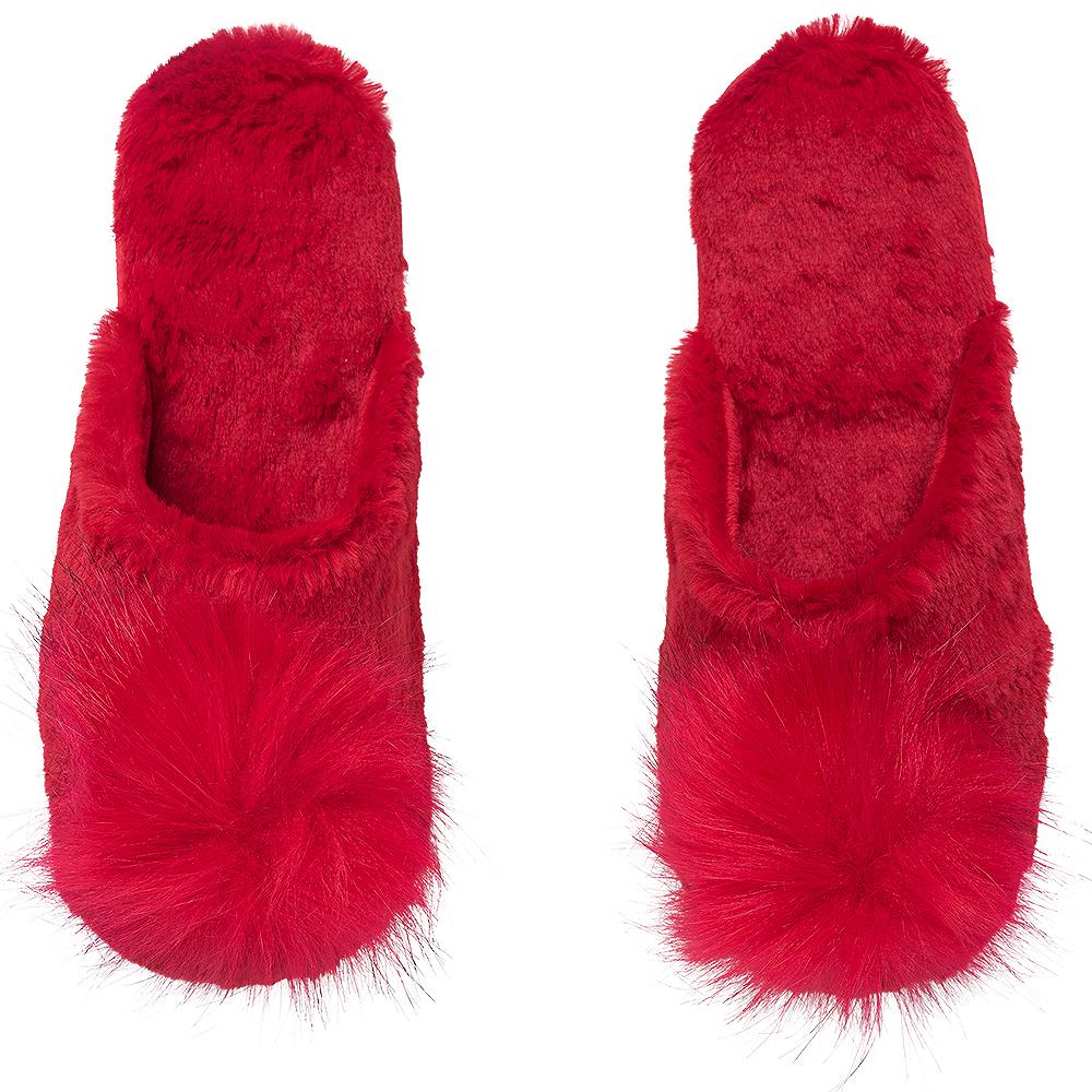 Red Pom-Pom Fluffy Slippers Image #1