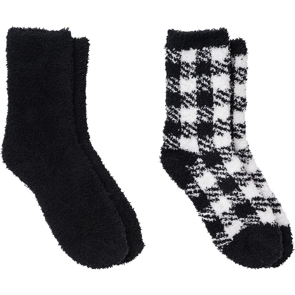 Adult Black Plaid Fuzzy Socks Image #1