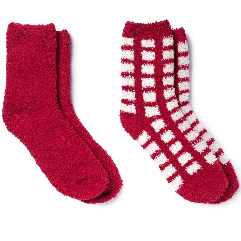 Adult Red Plaid Fuzzy Socks Image #1