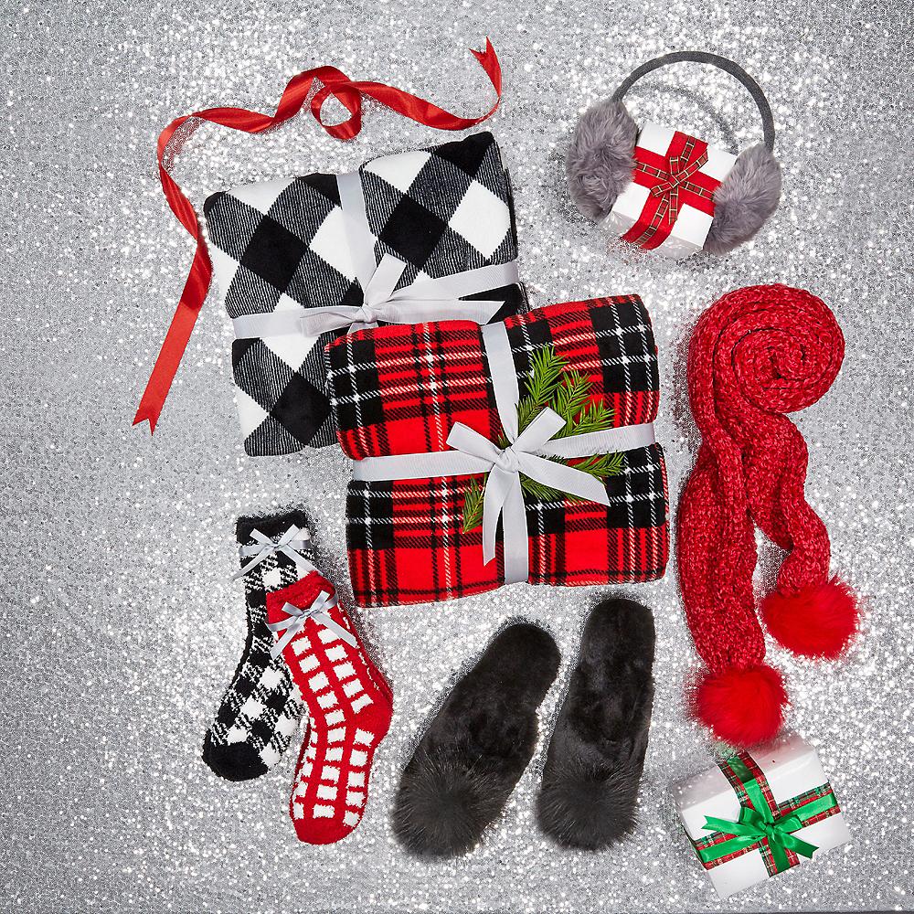 Adult Red Plaid Fuzzy Socks Image #2