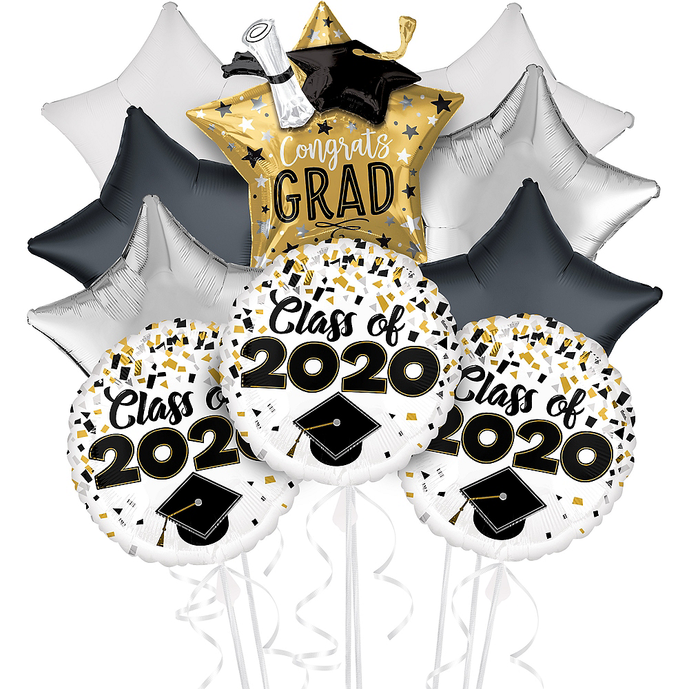 Black, Gold & Silver Congrats Grad Graduation Balloon Kit Image #1