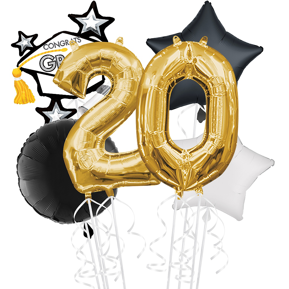 Black, Gold & White Congrats Grad Graduation Balloon Kit Image #1