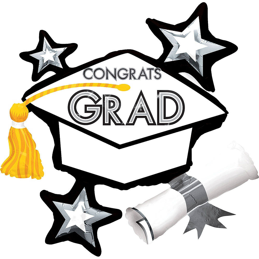 Black, Gold & White Congrats Grad Graduation Balloon Kit Image #5