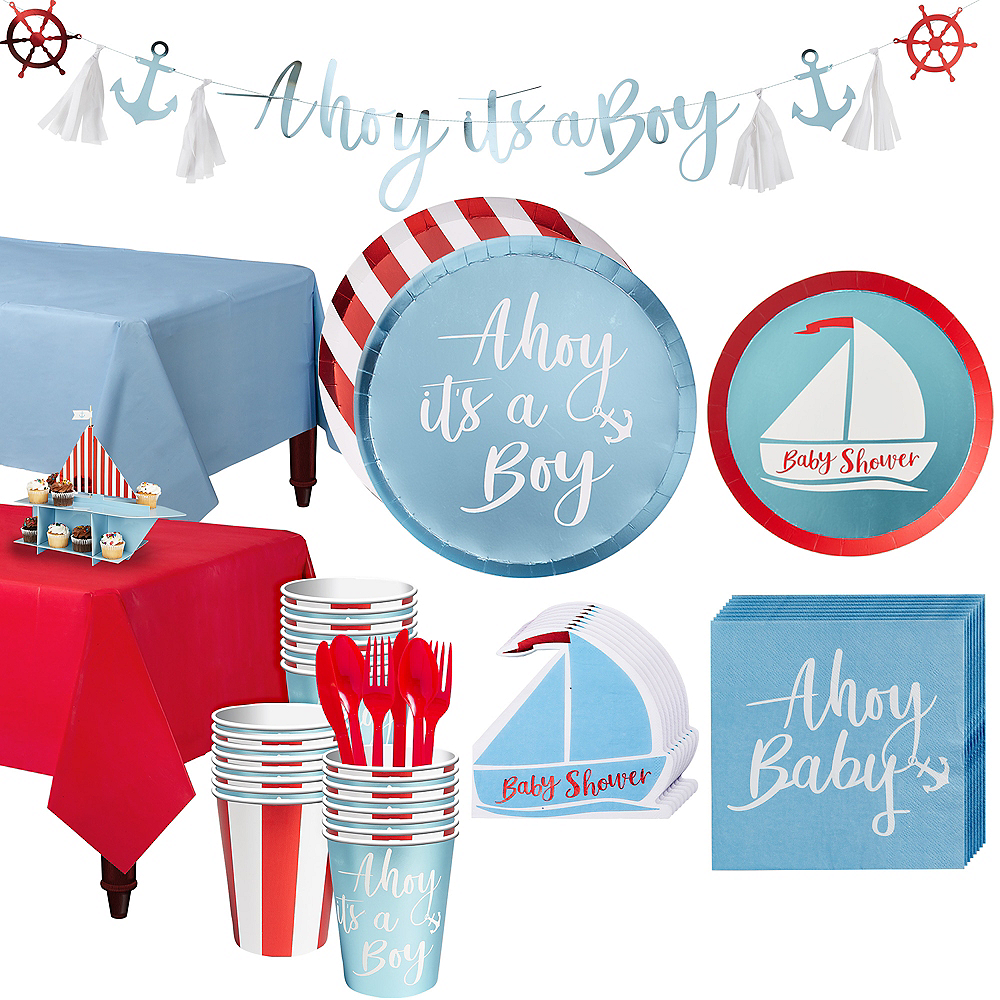 Ginger Ray Nautical Baby Shower Kit for 32 Guests Image #1