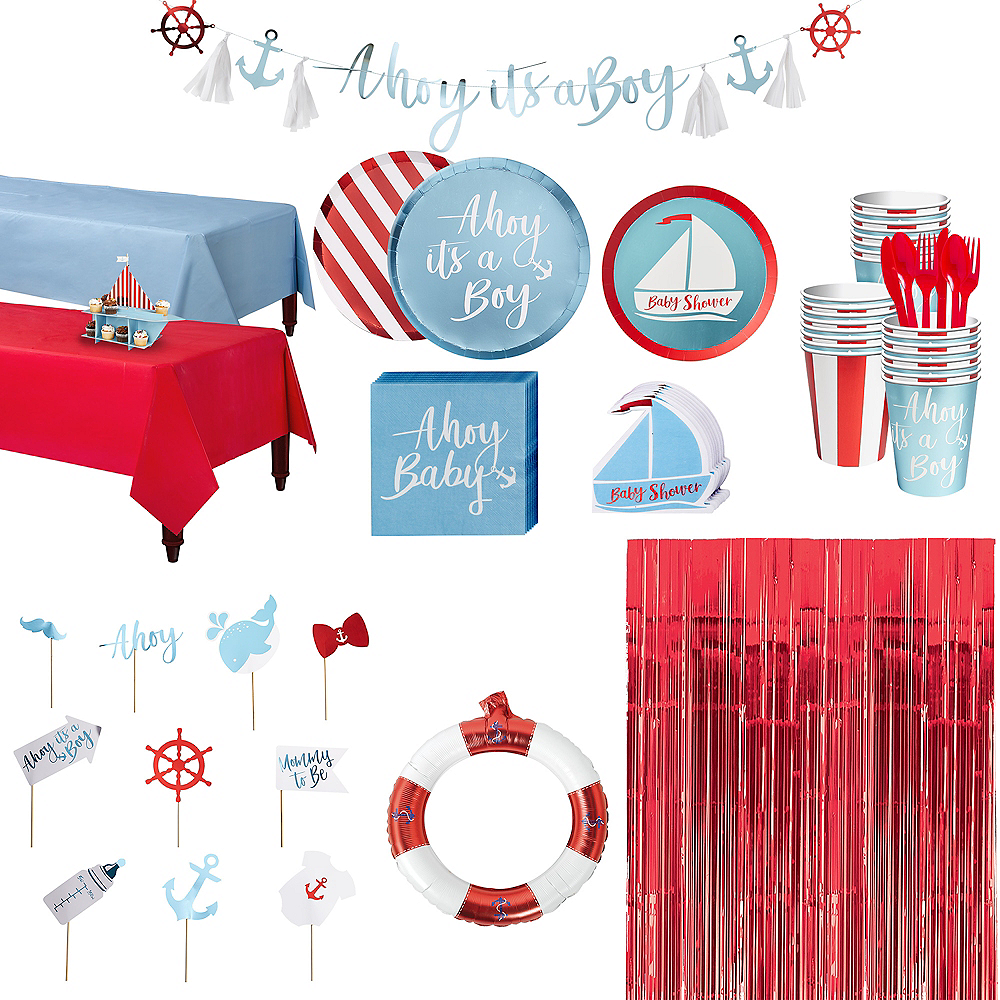 Ginger Ray Nautical Baby Shower & Photo Booth Kit for 32 Guests Image #1