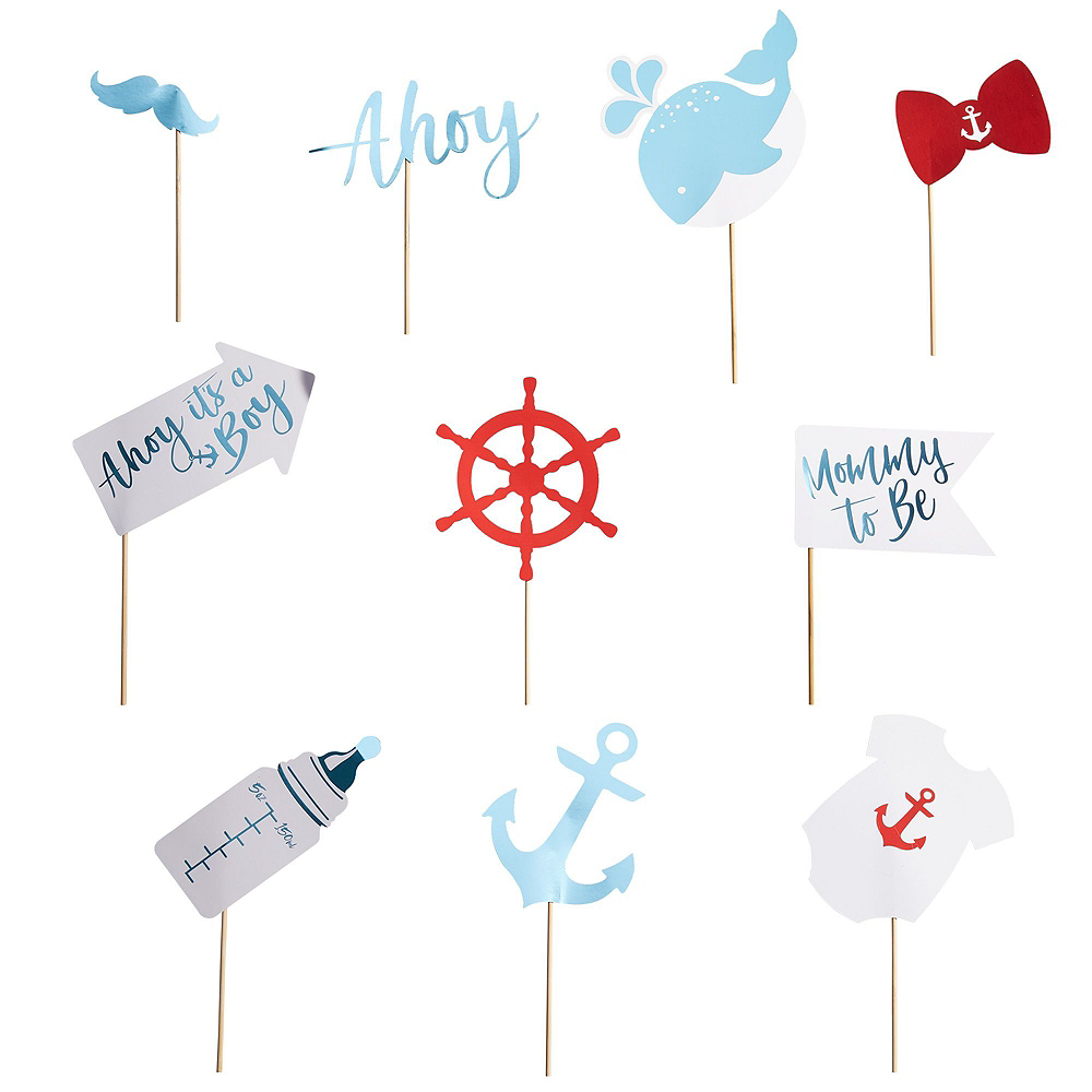 Ginger Ray Nautical Baby Shower & Photo Booth Kit for 32 Guests Image #12