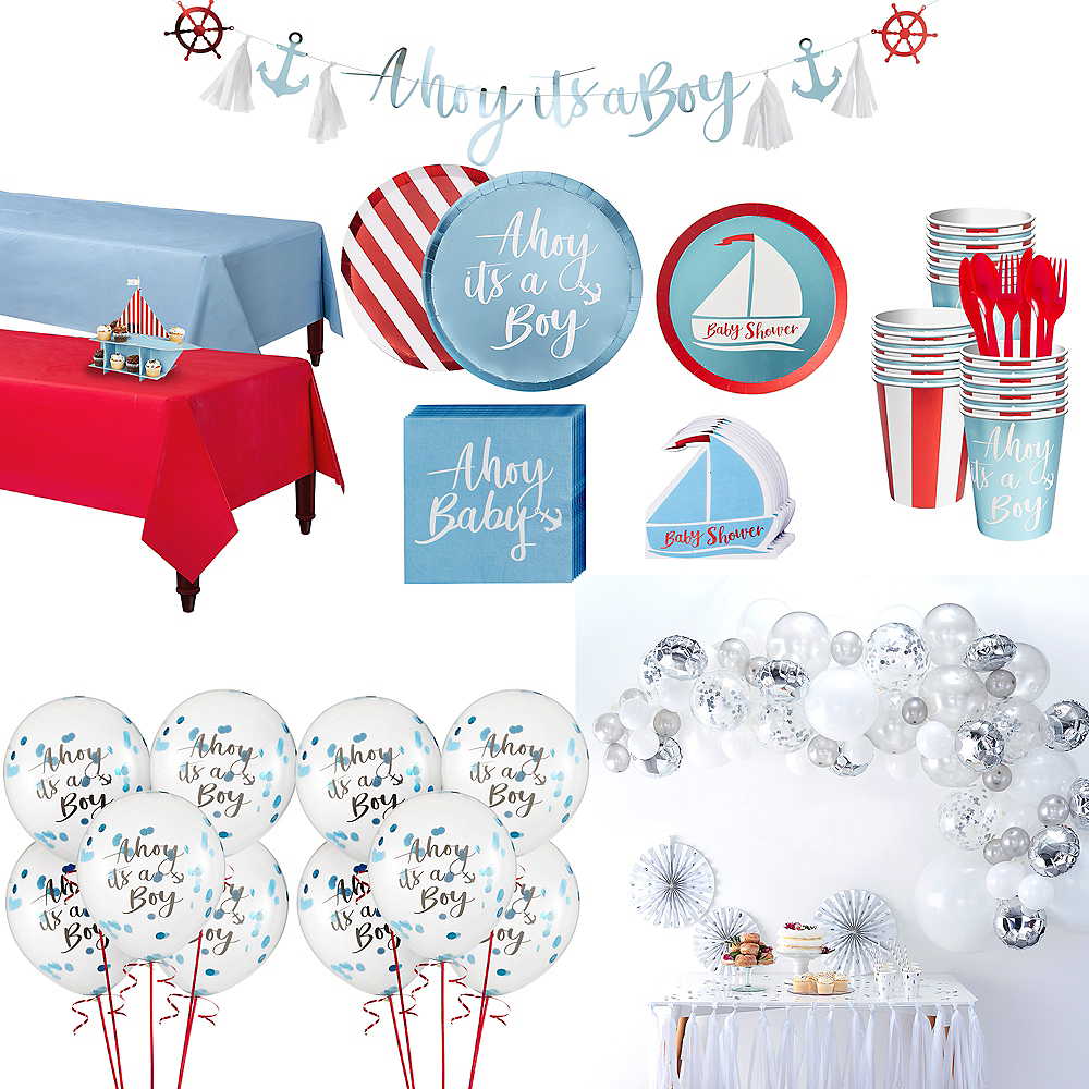 Nav Item for Ginger Ray Nautical Baby Shower & Balloon Kit for 32 Guests Image #1