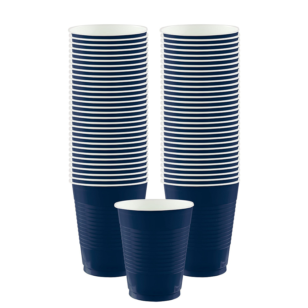 True Navy Blue Plastic Tableware Kit for 50 Guests Image #5