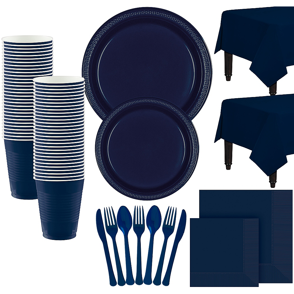 Nav Item for Navy Blue Paper Tableware Kit for 100 Guests Image #1