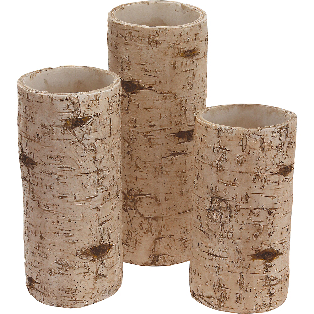 Birch Wood Candle Holder Set 3pc Image #1