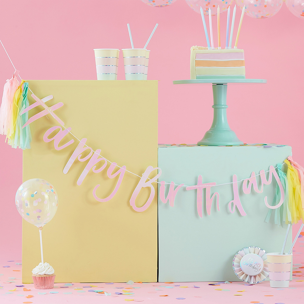 Ginger Ray Pastel Tassel Happy Birthday Banner Image #1