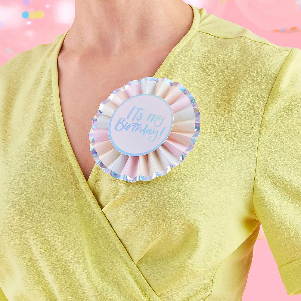 Ginger Ray Iridescent & Pastel Birthday Badge Image #1