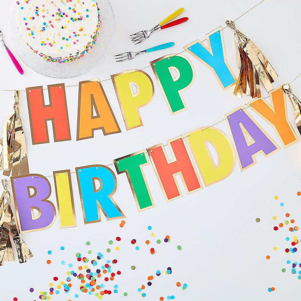 Ginger Ray Metallic Gold & Rainbow Tassel Happy Birthday Banner Image #1