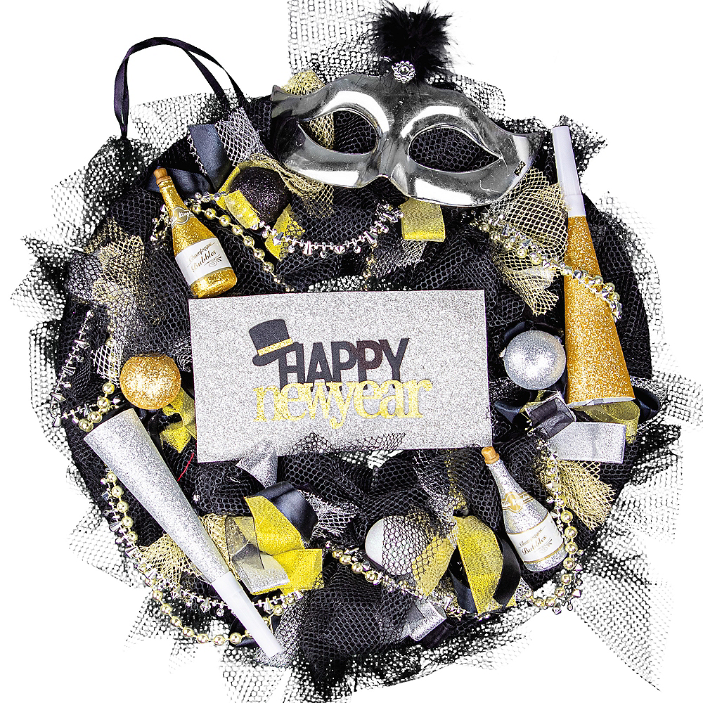 Black, Gold & Silver New Year's Eve Wreath Image #1