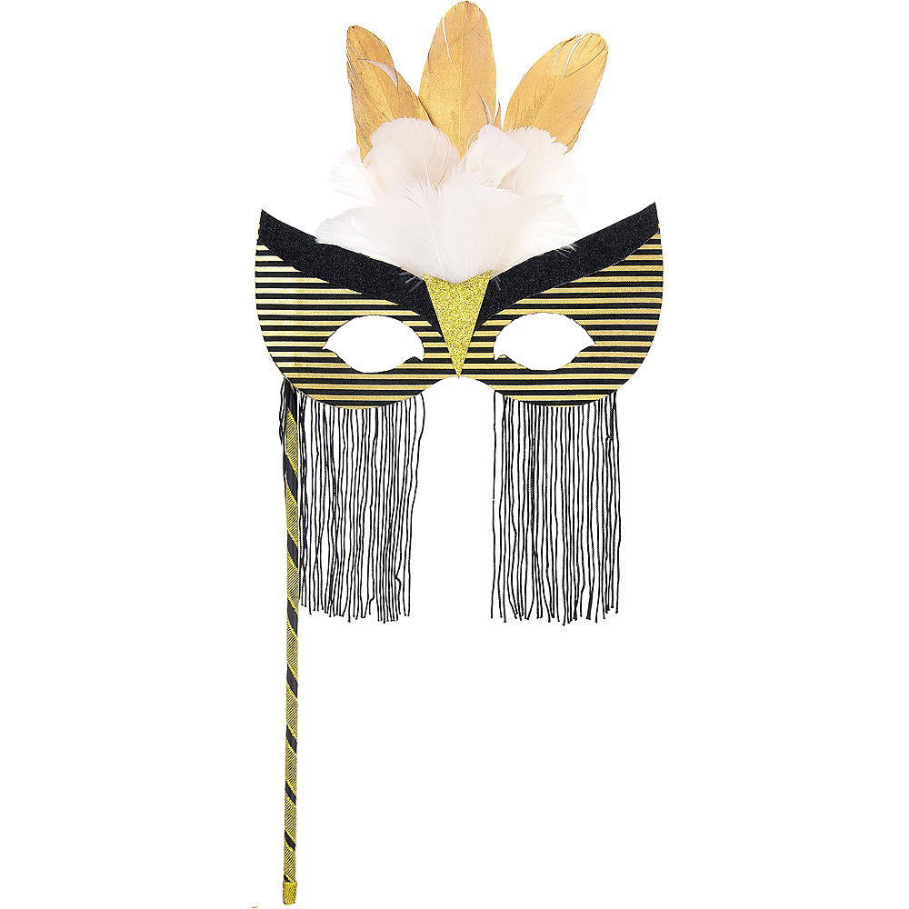 Nav Item for Black & Gold Striped Masquerade Mask on a Stick Image #1