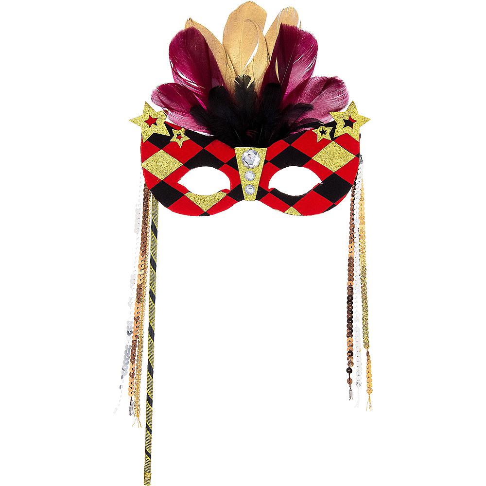 Black, Gold & Red Diamond Mask on a Stick Image #1