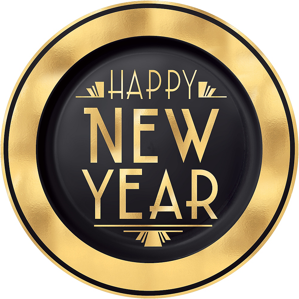 Art Deco New Year's Eve Premium Plastic Dinner Plate Image #1