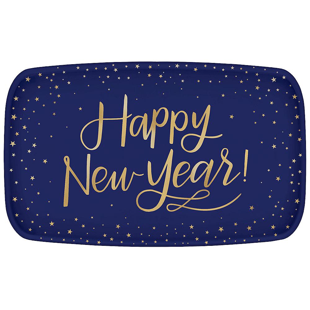 Metallic Gold Midnight New Year's Eve Plastic Rectangular Platter Image #1