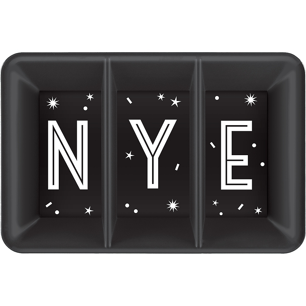 Black New Year's Eve Rectangular Sectional Platter Image #1
