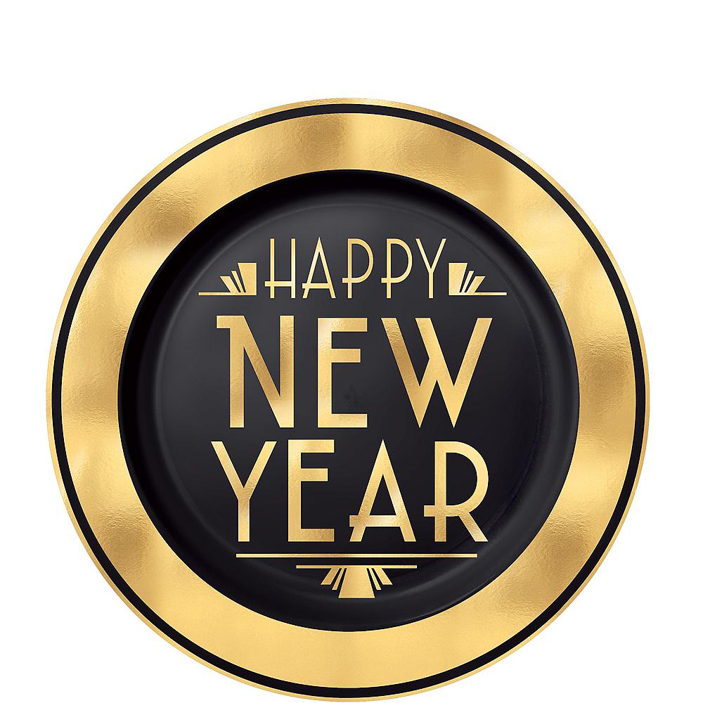Art Deco New Year's Eve Premium Plastic Dessert Plates 20ct Image #1