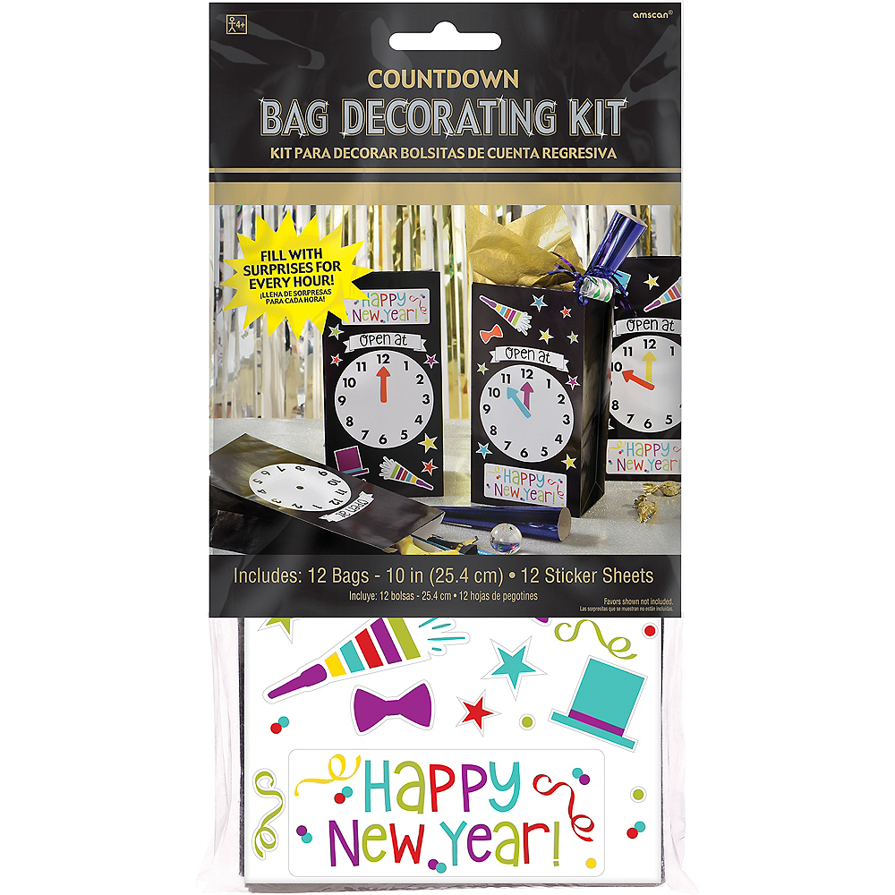 Countdown to Midnight Favor Bag Decorating Kit 12ct Image #4