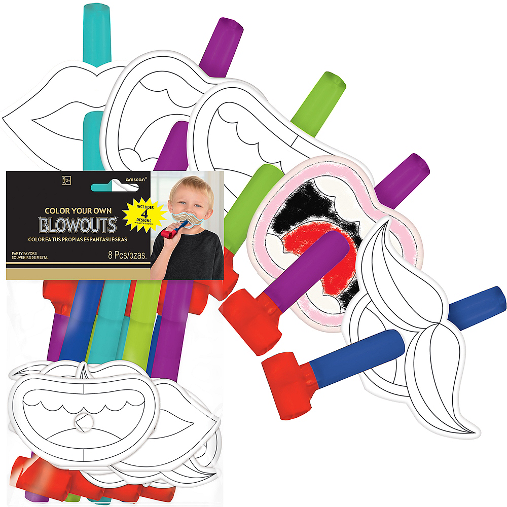 Coloring New Year's Eve Blowouts 8ct Image #1