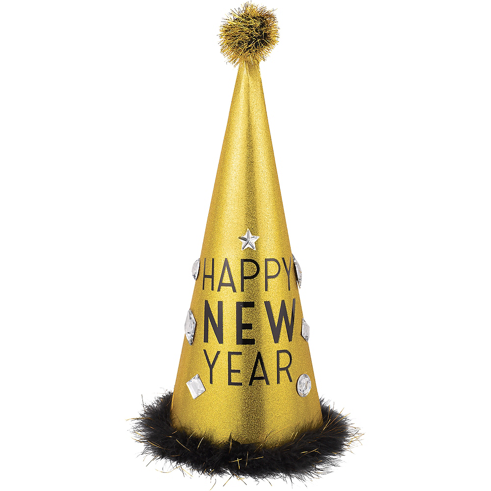 Glitter Gold Tall New Year's Eve Cone Hat Image #1