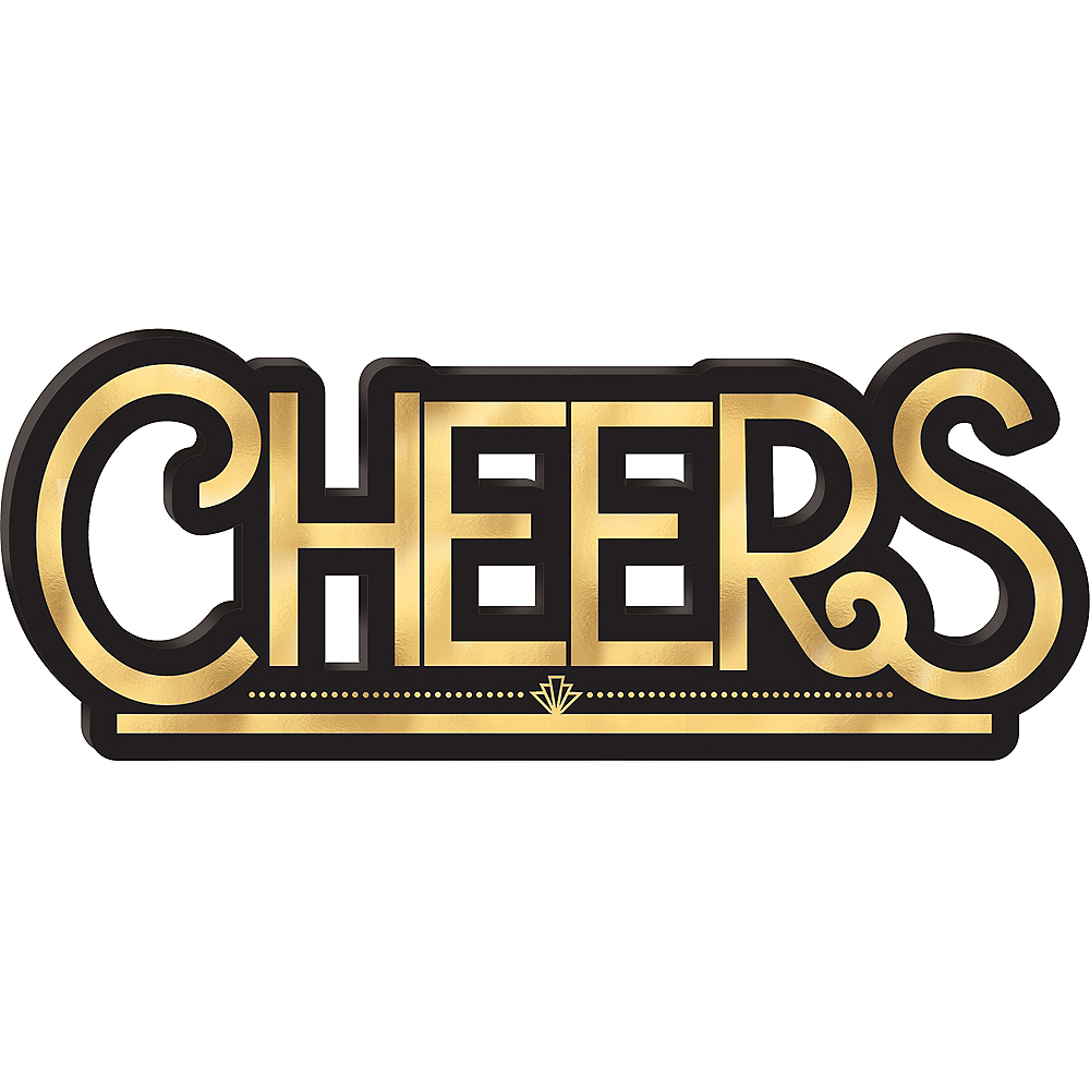 Black & Gold Cheers Block Sign Image #1