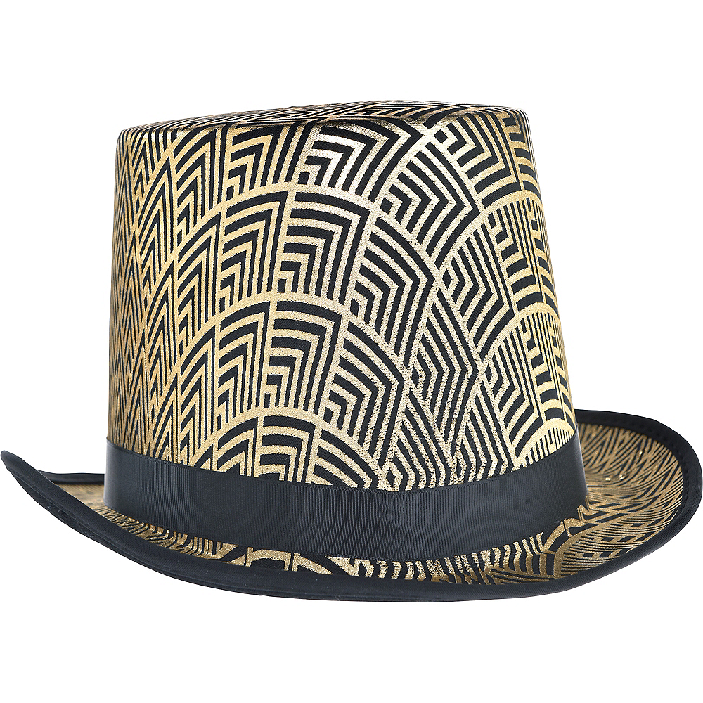 Black & Gold Art Deco Top Hat Image #1