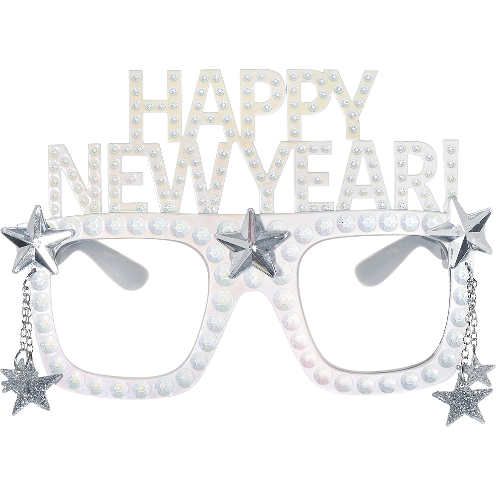 Happy New Year Star White Glasses Image #1