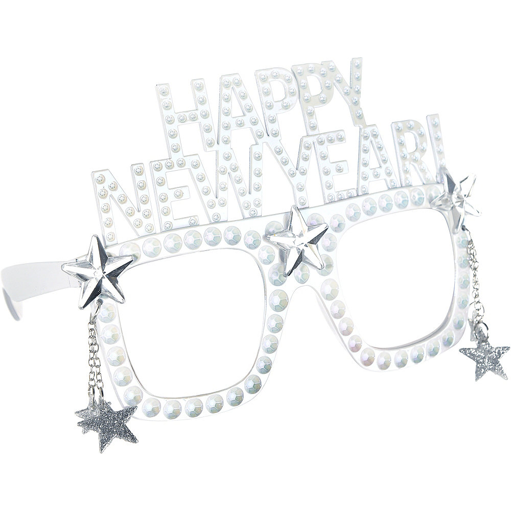 Happy New Year Star White Glasses Image #2