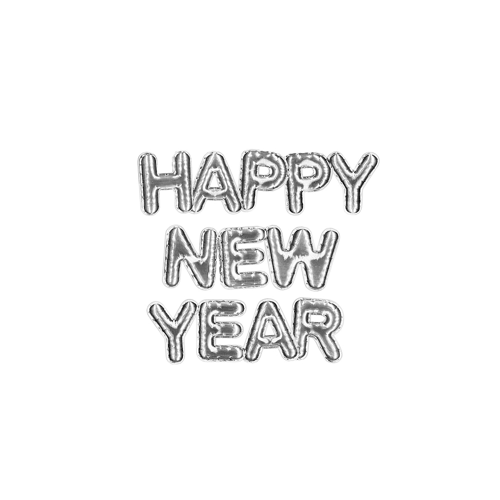 Silver Happy New Year Balloons 3pc Image #1