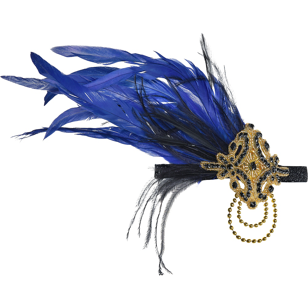Nav Item for Black & Blue Feather Headpiece Image #1