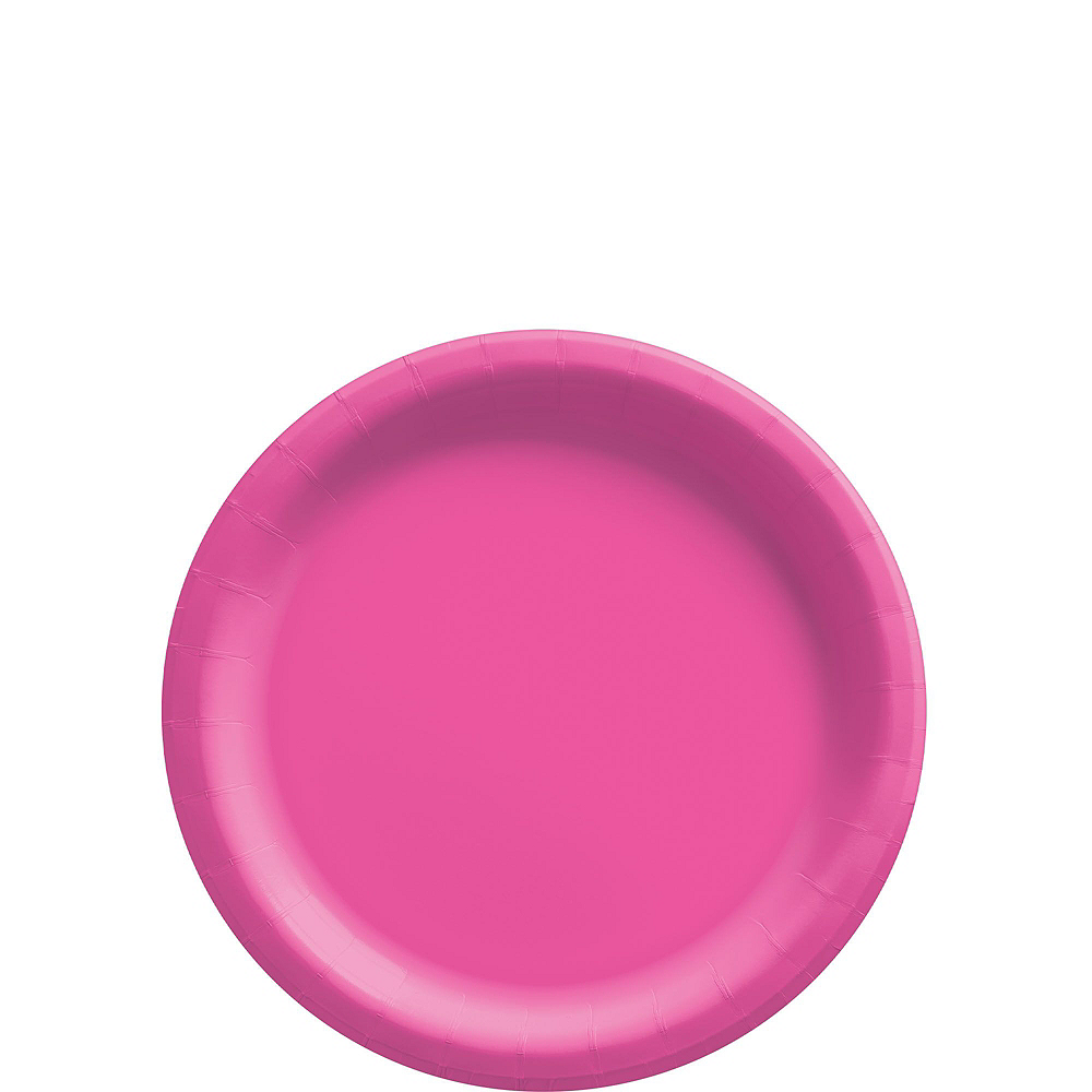 Bright Pink Paper Tableware Kit for 50 Guests Image #2
