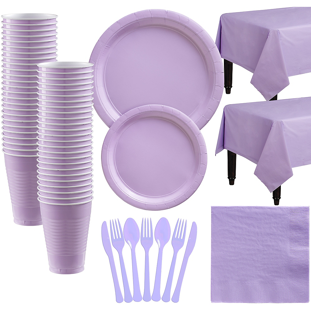 Lavender Paper Tableware Kit for 50 Guests Image #1