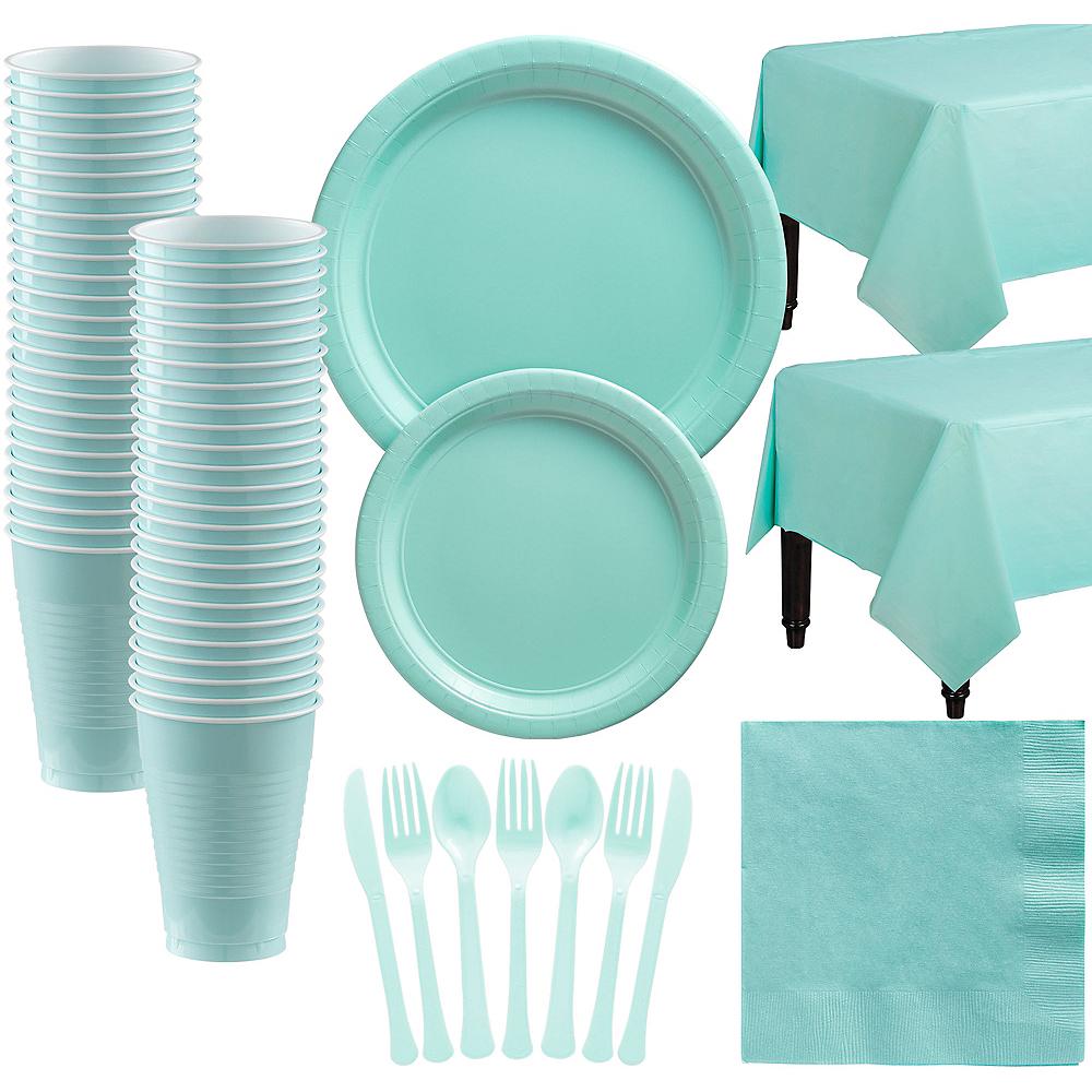 Robin's Egg Blue Paper Tableware Kit for 50 Guests Image #1