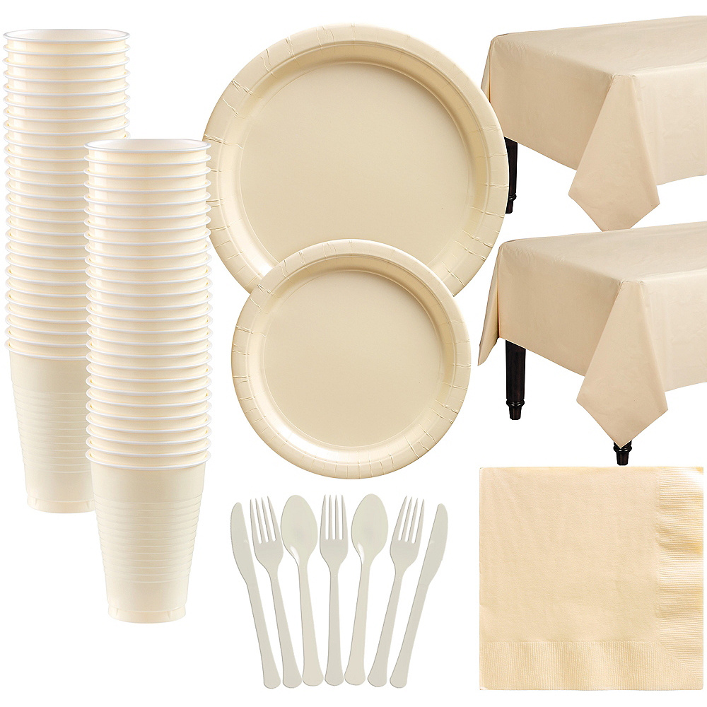 Vanilla Cream Paper Tableware Kit for 50 Guests Image #1