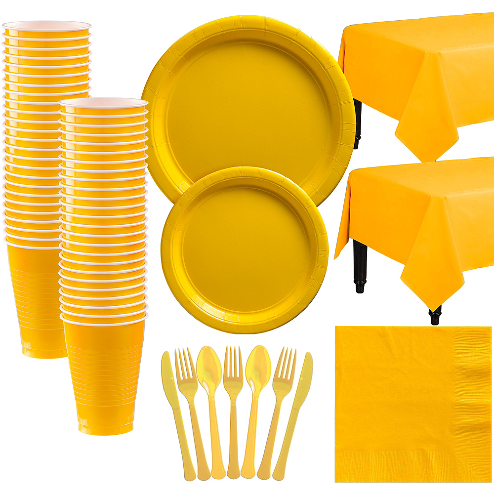 Sunshine Yellow Paper Tableware Kit for 50 Guests Image #1