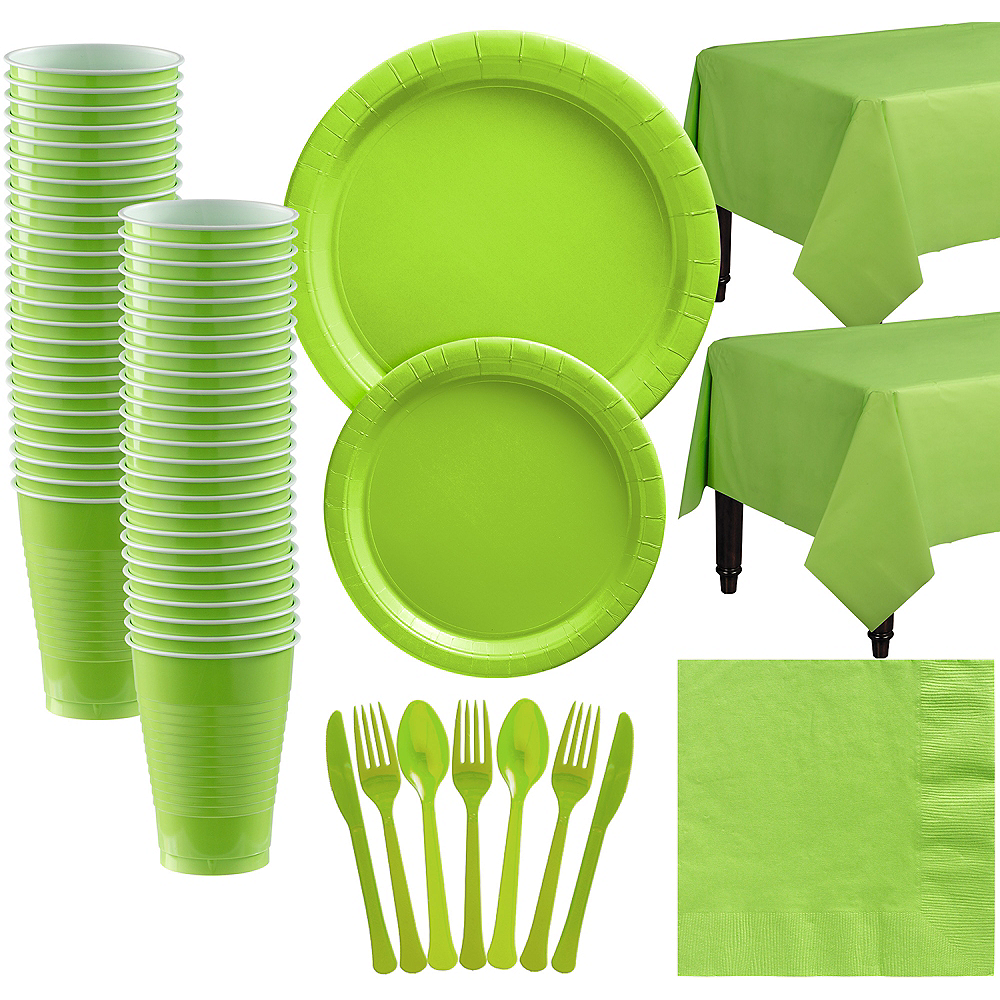 Kiwi Green Paper Tableware Kit for 50 Guests Image #1