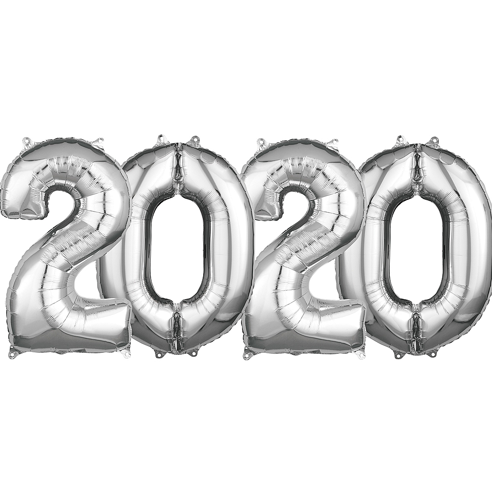 26in Silver 2020 Number Balloon Kit Image #1