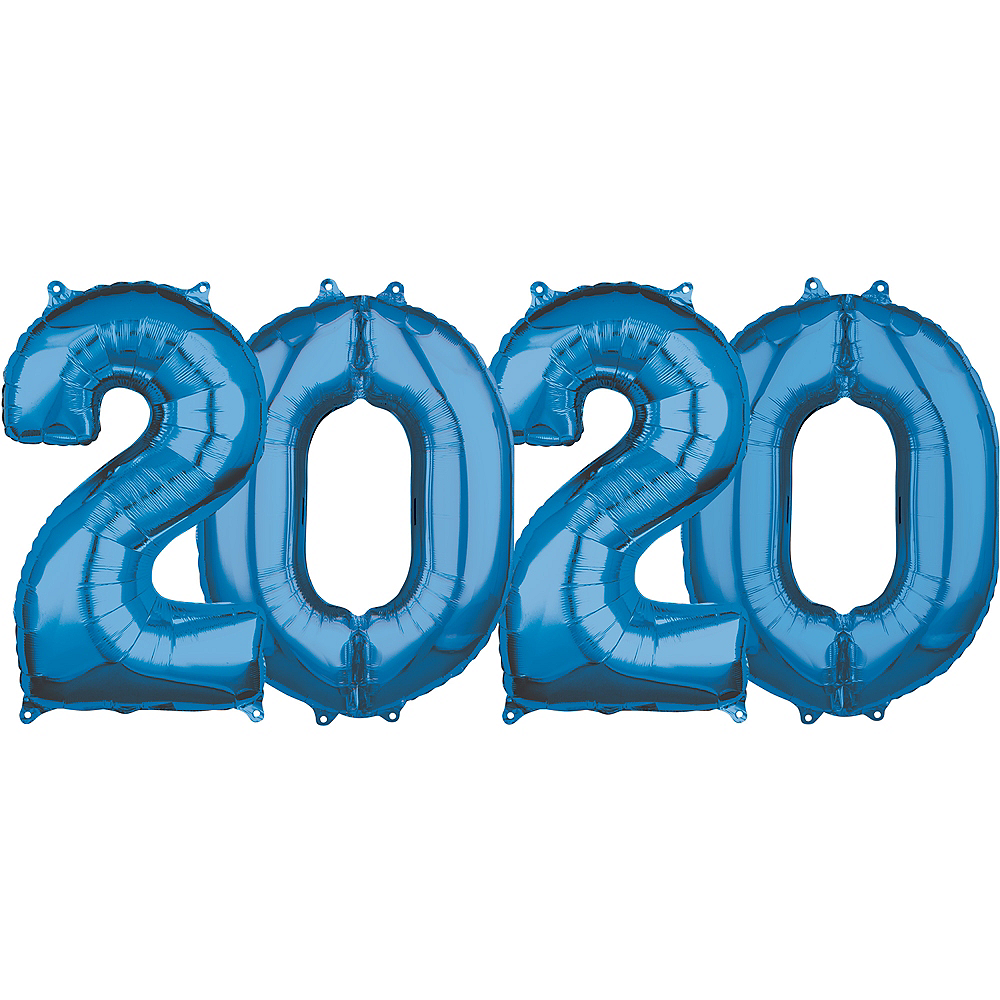26in Blue 2020 Number Balloon Kit Image #1