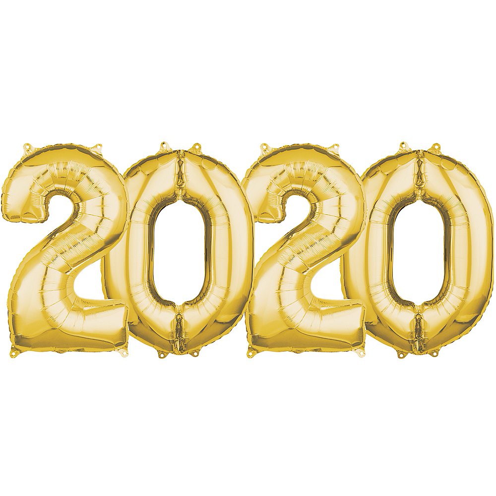 26in Gold 2020 Number Balloon Kit Image #1
