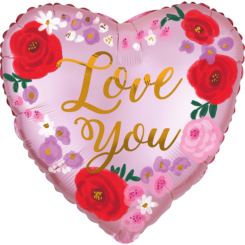 Floral Love You Satin Heart Balloon, 18in Image #1