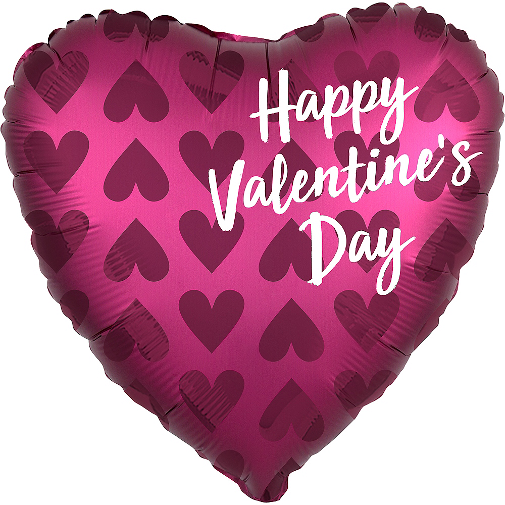 Berry Happy Valentine's Day Satin Heart Balloon, 18in Image #1