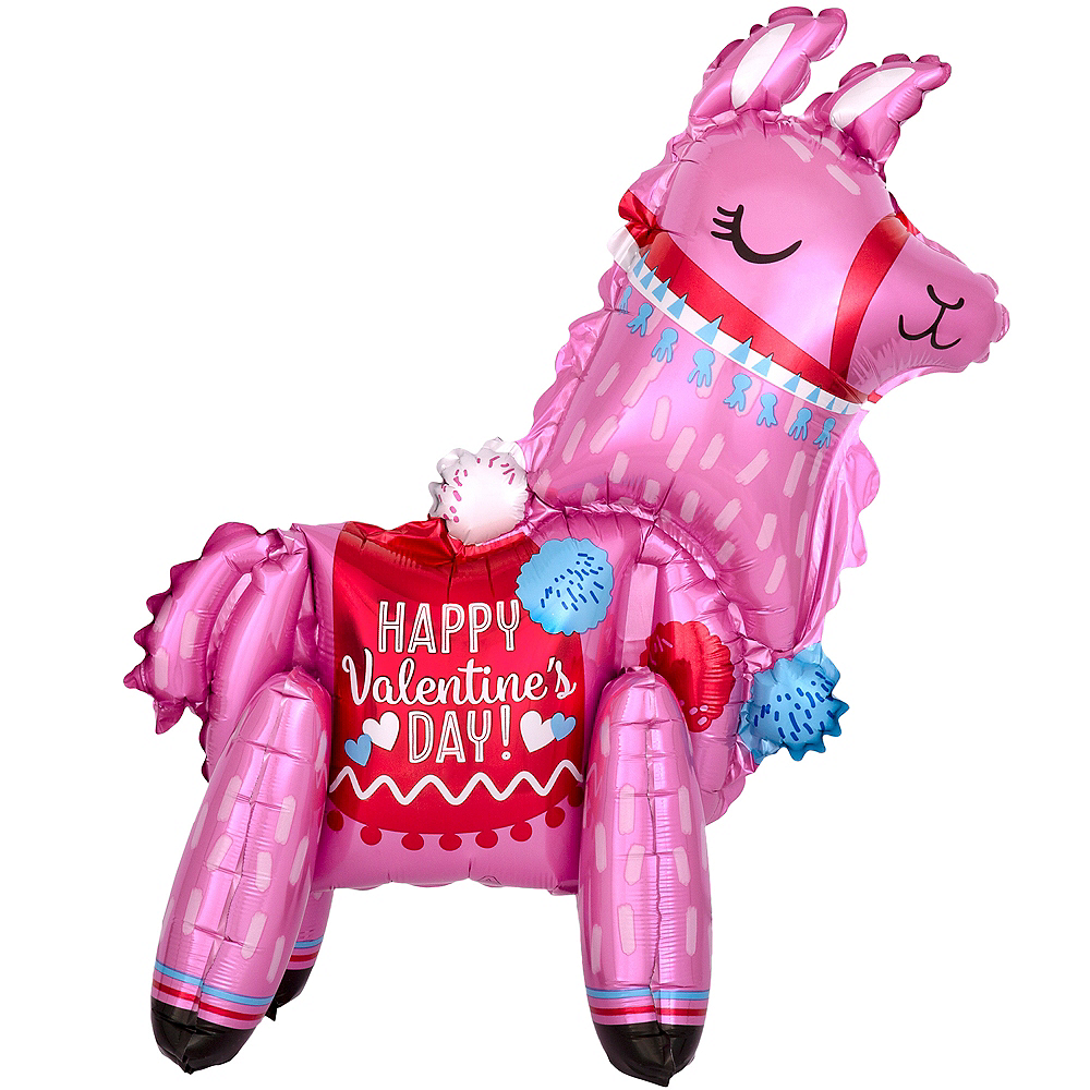 3D Happy Valentine's Day Llama Balloon, 18in Image #1