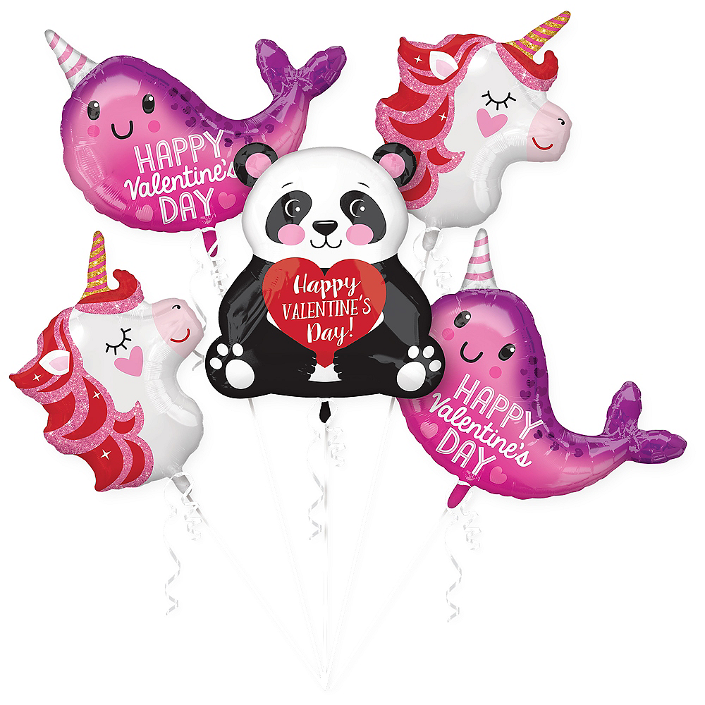 Valentine's Day Blushing Animals Balloon Bouquet 5pc Image #1