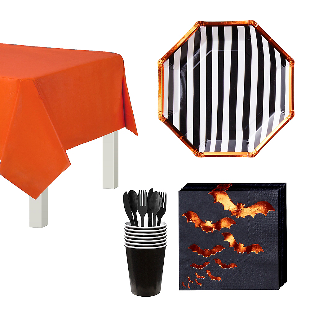 Ginger Ray Black & Orange Bats Tableware Kit for 8 Guests Image #1