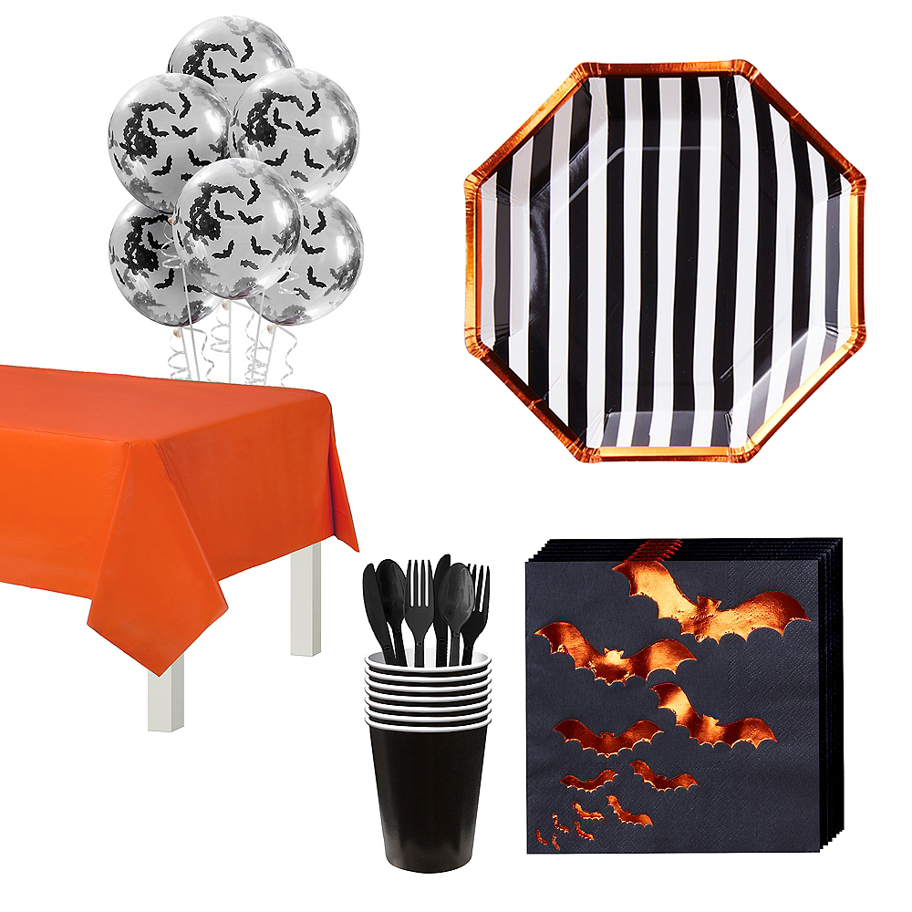 Ginger Ray Black & Orange Bats Tableware Kit for 16 Guests Image #1