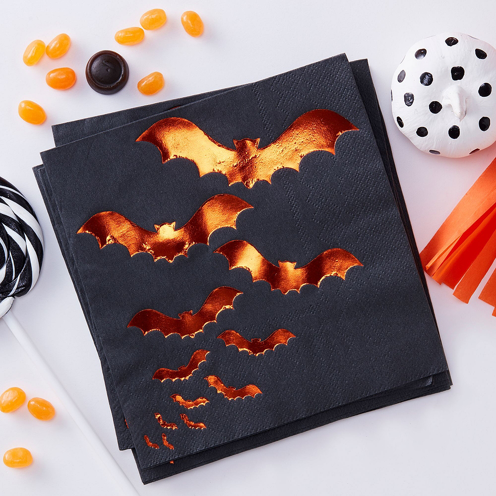 Ginger Ray Black & Orange Bats Tableware Kit for 16 Guests Image #3
