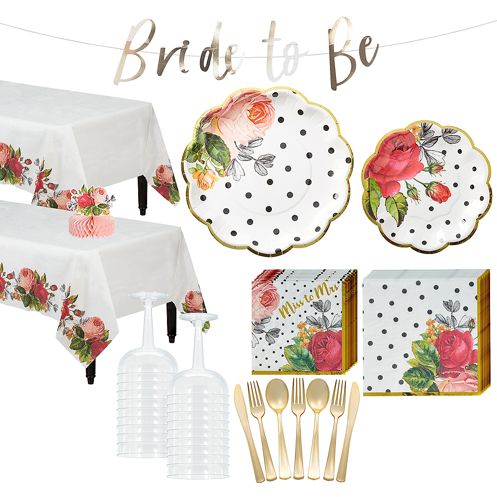 Pop Blush Rose Bridal Shower Tableware Kit for 32 Guests Image #1